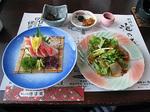 金目鯛の刺身、金目鯛の燻製サラダ